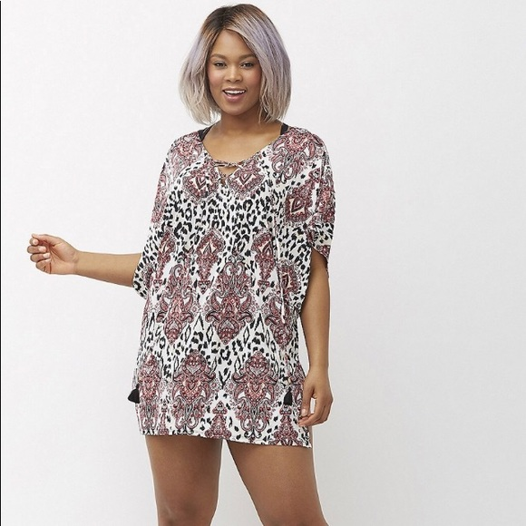 8e35c8e100 Lane Bryant Other - Lane Bryant 22 24 Lace Up Paisley Swim Cover-up